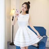 夏裝連身裙 白色無袖中裙 修身顯瘦a字裙【多多鞋包店】w355