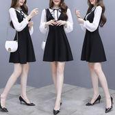 VK精品服飾 韓系氣質小香風雪紡拼接撞色顯瘦長袖洋裝