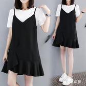 大尺碼洋裝 休閒吊帶裙套裝減齡遮肚子大尺碼大碼女裝QW1299『夢幻家居』