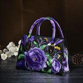 刺繡包民族風包包2019中年女包小包繡花刺繡斜背包手提包側背包帆布 爾碩數位3c