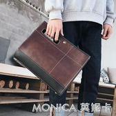 原創設計復古瘋馬PU皮男士手包個性大手拿包新款韓版單肩包IPAD包 莫妮卡小屋