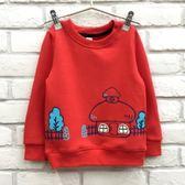 【韓版童裝】彈力不倒絨可愛香菇屋貼布窗戶上衣-橘紅【BD17112205】