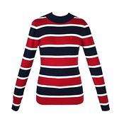 【南紡購物中心】Tommy Hilfiger 經典刺繡標誌寬條紋長袖針織毛衣-藍/紅