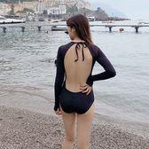 泳裝 比基尼 泳衣 素色 繞頸 綁帶 露背 性感 顯瘦 連身 長袖泳裝【SF19011】 icoca  12/06