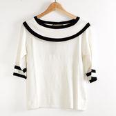 【MASTINA】學院風針織上衣-白  秋裝限定嚴選