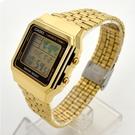 CASIO手錶 金色復古方型地圖電子鋼錶NECE50