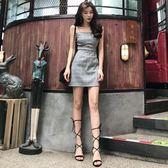 夏季小香風露背系帶蝴蝶結裙子高腰吊帶連身裙A字裙女裝洋裝