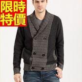 男毛衣美麗諾羊毛外套-好搭V領雙排扣男開襟針織衫2色64k41[巴黎精品]