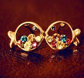韓國 奢華 彩鑽 小丑魚 耳釘 胖呼呼 小丑魚 鏤空 水鑽 耳環