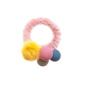 超萌彩色磨砂球毛絨髮圈(1入) 顏色隨機出貨【小三美日】髮飾