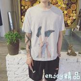 夏季趣味印花短袖T恤港風寬鬆休閒男士小清新圓領打底體恤衫上衣  enjoy精品