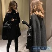 斗篷外套女 2020秋冬新款正韓黑色中長款斗篷大衣女復古赫本風小個子上衣外套
