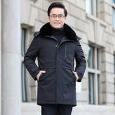 羽絨外套-白鴨絨連帽保暖可拆卸毛領男夾克2色73zd7【巴黎精品】