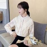 蕾絲上衣 8628#秋冬新款雪紡衫加絨加厚蕾絲娃娃領百搭洋氣打底衫NA53快時尚