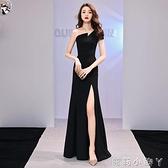 黑色晚禮服長裙女2020新款宴會年會氣質高端大氣高級質感長款單肩 NMS蘿莉新品