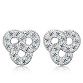 925純銀耳環鑲鑽(耳針式)-大方優雅質感生日情人節禮物女飾品73al61【巴黎精品】