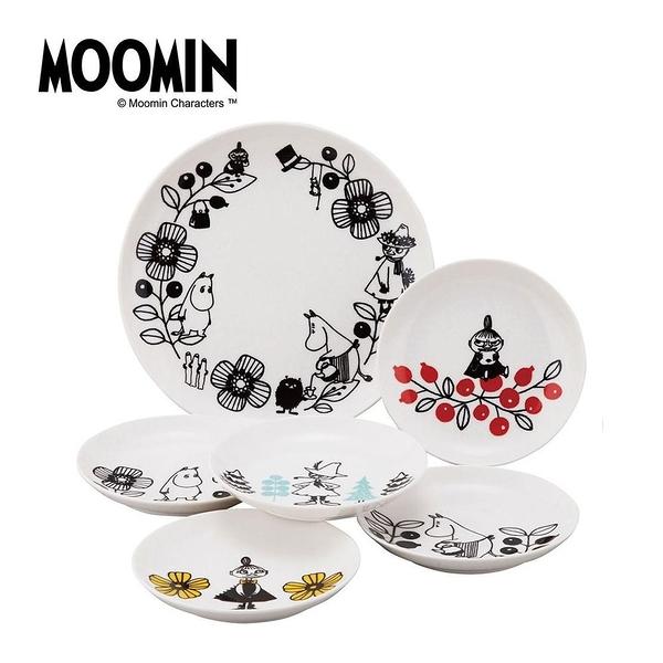 MOOMIN嚕嚕米日本製陶磁淺餐盤6件組(大自然)★funbox★YAMAKA_SJ27022