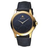 GUCCI古馳 G-TIMELESS 蜜蜂手錶-黑x金框/39mm YA1264034