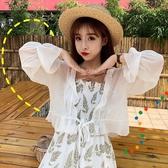 配吊帶裙的小披肩雪紡衫防曬衣女夏季新款短款開衫薄款外套女 亞斯藍