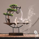 風化木頭倒流香香爐擺件檀香家用室內供佛茶道創意大號熏香沉香爐