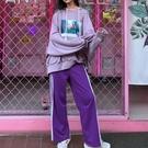 運動套裝印花長袖衛衣百搭高腰闊腿褲兩件套女春冬休閒運動套裝