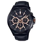 【CASIO】埃及風密編織錶帶皮帶紳士錶-黑X玫瑰金(MTP-E303BL-1A2)