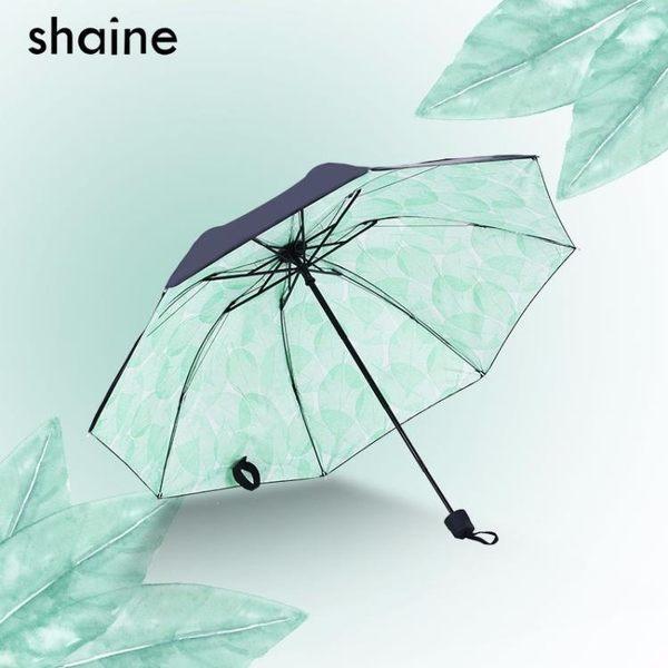 小黑傘防曬防紫外線三折疊雨傘雨晴兩用黑膠小清新學生女反向花傘【好康回饋◇85折】