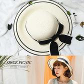 草帽 Space Picnic|預購.渡假風蝴蝶綁帶編織草帽【C18062023】