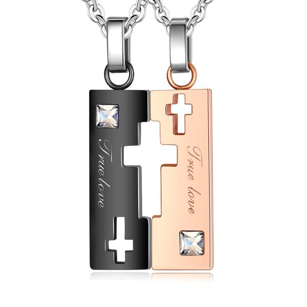 GIUMKA十字架造型情侶項鍊 忠貞愛情 情人對鍊 白鋼情人 簍空 單個價格 MN08028