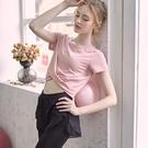 運動上衣 瑜伽服女夏天薄款跑步鍛煉衣服短袖T恤性感運動上衣健身服-Ballet朵朵
