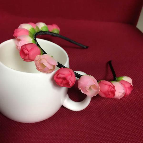 布藝茶花頭茶苞發箍發飾新娘花環韓國式兒童公主花環手環頭飾(香茶)髮C卡─預購CH1758