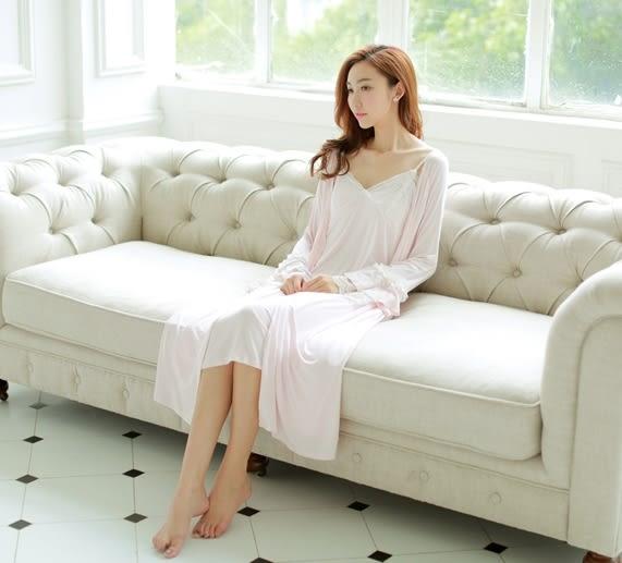 歐式復古宮廷風睡衣莫代爾超長睡裙長袖女公主粉色蕾絲家居服春秋-11190025
