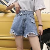 高腰牛仔褲女春裝2020新款韓版網紅褲子寬鬆顯瘦短褲破洞寬管褲潮 藍嵐