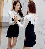 洋裝 小禮服 秋裝新款襯衣領鏤空露背黑白拼接收腰荷葉邊魚尾裙長袖打底連身裙 韓風