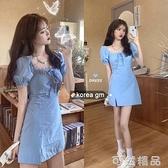 夏季新款韓版蕾絲花邊泡泡袖洋裝女蝴蝶結收腰顯瘦開叉裙子 可然精品