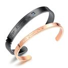 【5折超值價】經典流行字母鑲鑽造型情侶款鈦鋼手環