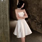 禮服不支持退換 法式小晚禮服裙子女平時可穿2020新款氣質簡單大方洋裝白色短款 滿天星