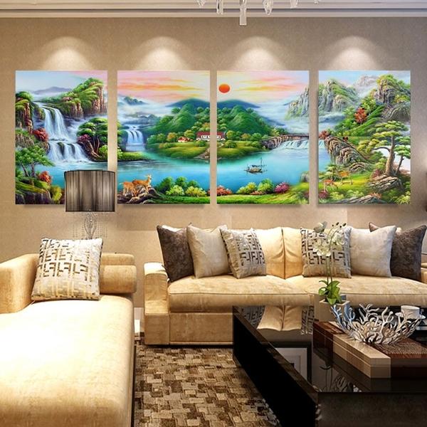 客廳裝飾畫聚寶盆山水畫風水靠山流水生財背景墻冰晶玻璃四聯壁畫LG-66939