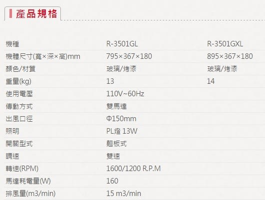 【歐雅系統家具】櫻花 SAKURA R-3501G 隱藏式除油煙機