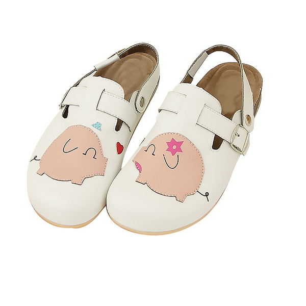 【Jingle】粉紅小豬前包後空軟木休閒鞋(經典白大人款)