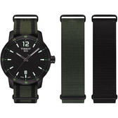 TISSOT 天梭 QUICKSTER NATO 活力運動手錶-黑x綠/40mm T0954103705700