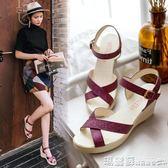 楔型鞋 坡跟涼鞋女夏羅馬風簡約高跟防滑百搭平底魚嘴防水台女鞋 瑪麗蘇