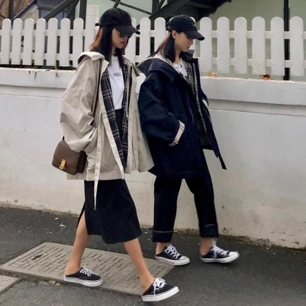 春秋新款韓版小個子chic外套風衣女裝中長款寬鬆長袖連帽帥氣上衣