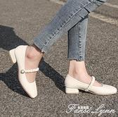 瑪麗珍鞋2021年春季新款百搭方頭晚晚鞋溫柔風低跟粗跟仙女單鞋女 范思蓮恩