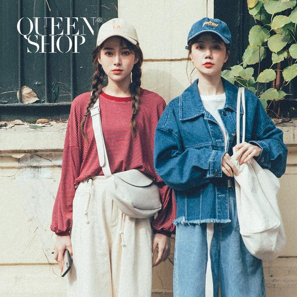Queen Shop【01110482】配色條紋澎袖圓領上衣 兩色售*現+預*