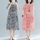 洋裝 連身裙 2019夏季新款中大尺碼 女裝mm休閒文藝印花連衣裙女時尚短袖中長裙