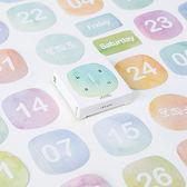 【BlueCat】陌墨彩色日付時間裝飾貼紙 (45入)