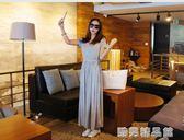 韓版莫代爾短袖連身裙女夏季寬鬆高腰抽繩顯瘦長裙大碼a型大擺裙  酷男精品館