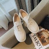 樂福鞋 日系小皮鞋女2021年春季新款平底英倫風復古單鞋系帶一腳蹬樂福鞋 新品