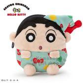 〔小禮堂〕蠟筆小新 x Hello Kitty 迷你造型絨毛零錢包《綠》耳機包.收納包 4901610-08384